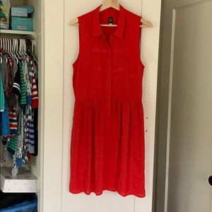 Red Anthropologie dress size 8.